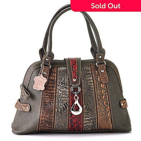 709-542 - Madi Claire ''Isabel'' Crocodile Embossed Striped Leather Domed Satchel