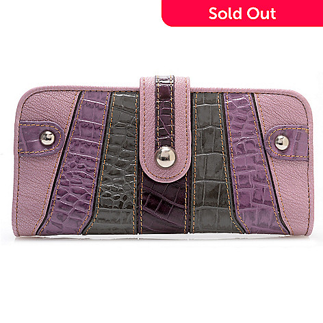 709-544 - Madi Claire ''Isabel'' Crocodile Embossed Leather Striped Wallet