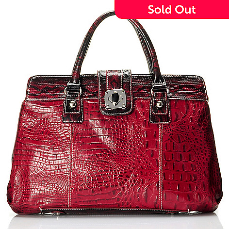 709-545 - Madi Claire Croco Embossed ''Reba'' Turnlock Satchel