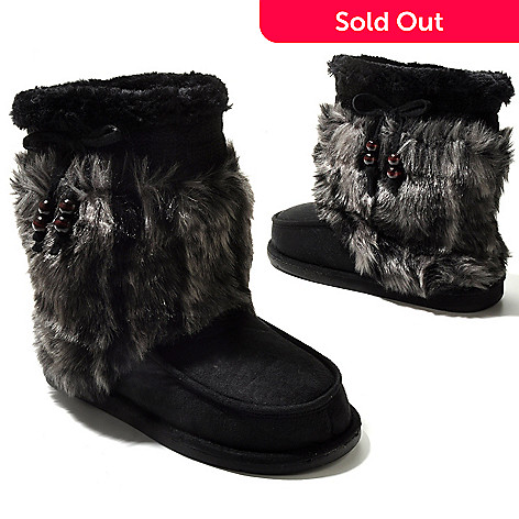 709-562 - Dr. Scholl's® ''Chewy'' Memory Foam Cable Knit & Faux Shearling Boots