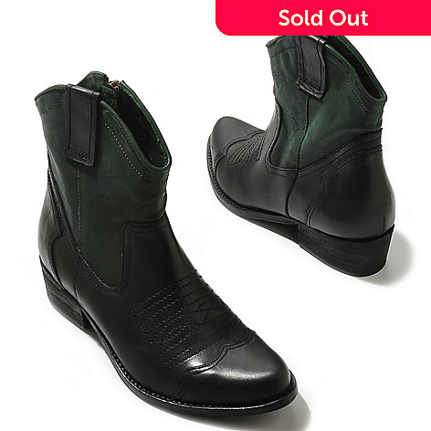 709-578 - MIA Two-tone Leather Western-Inspired Ankle Boots