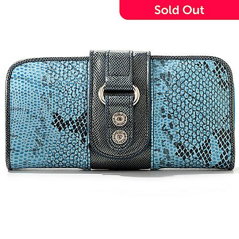 709-585 - Madi Claire ''Jaden'' Snakeskin Embossed Leather Wallet
