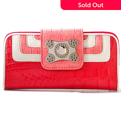 709-590 - Madi Claire Croco Embossed Leather ''Victoria'' Wallet