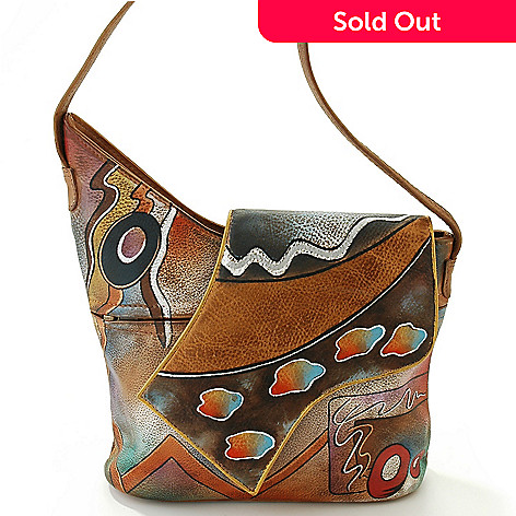 709-635 - ''As Is'' Anuschka Hand-Painted Leather Flap Handbag