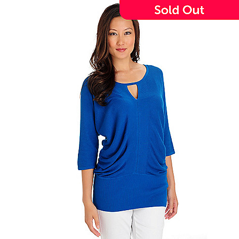709-643 - One 7 Six Scoop Neck Dolman Sleeved Key Hole Sweater