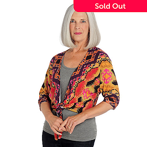 709-646 - One 7 Six 3/4 Dolman Sleeve Printed Tie-Front Sweater