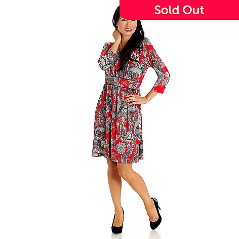709-651 - aDRESSing WOMAN V-Neck Elbow Sleeved Floral Print Dress