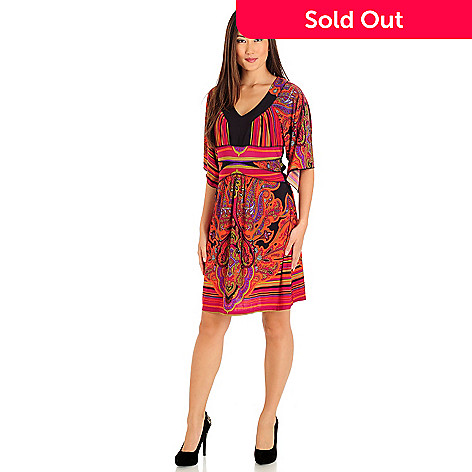 709-667 - One World Kimono Sleeve V-Neck Banded Jersey Dress