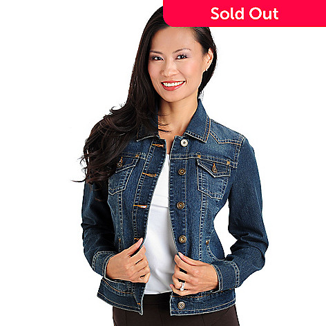 709-679 - OSO Casuals Stretch Denim Button Front Four-Pocket Basic Jean Jacket
