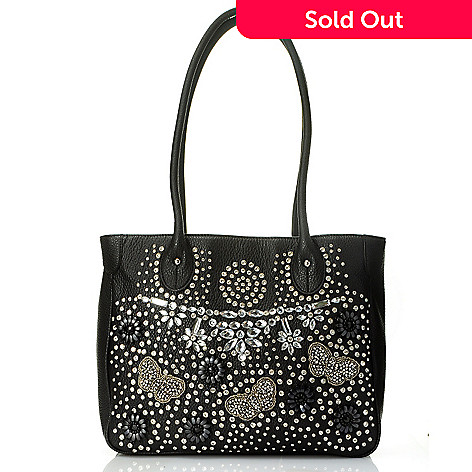 709-680 - Bag Chique Rhinestone & Butterfly Detailed Tote Bag