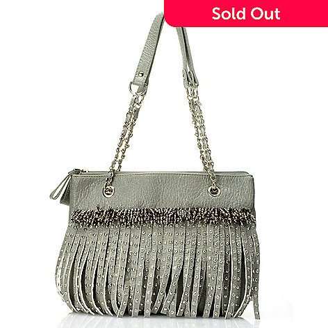 709-690 - Bag Chique Three Compartment Fringe & Stud Detailed Shoulder Handbag