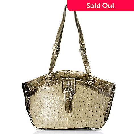709-691 - Madi Claire ''Kristine'' Ostrich Embossed Leather Tote Bag