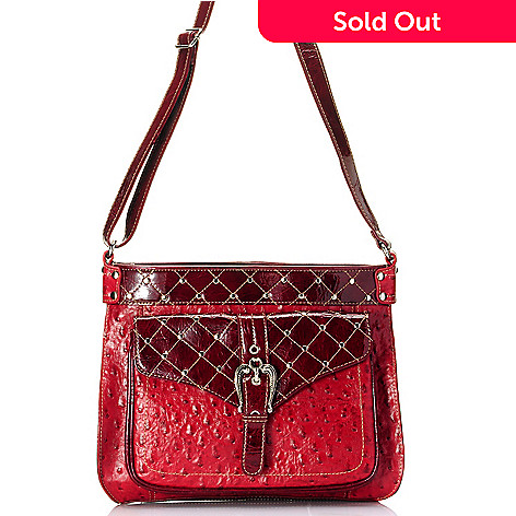 709-693 - Madi Claire ''Kristine'' Ostrich Embossed Leather Cross Body Bag
