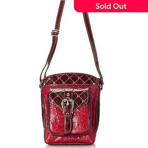 709-695 - Madi Claire Ostrich Embossed Leather ''Kristine'' Organizer Cross Body Bag
