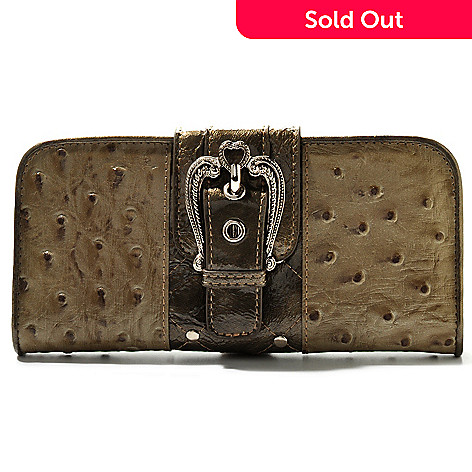 709-697 - Madi Claire ''Kristine'' Ostrich Embossed Leather Wallet