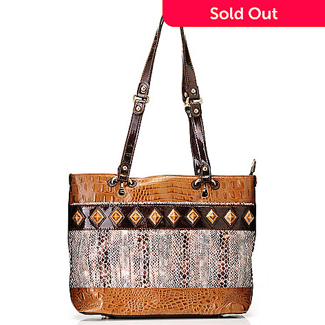 709-698 - Madi Claire Croco Embossed Leather & Snake Print ''Tanya'' Tote Bag