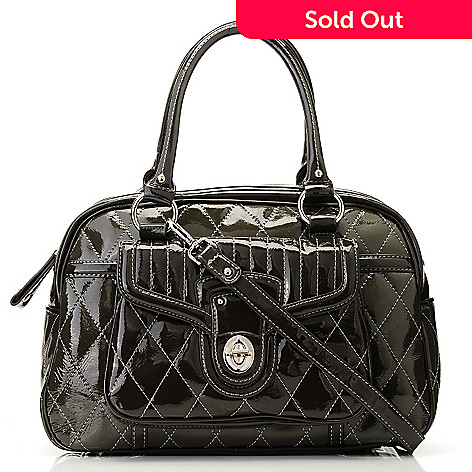 709-703 - Madi Claire ''Jennifer'' Quilt Stitched Patent Leather Satchel