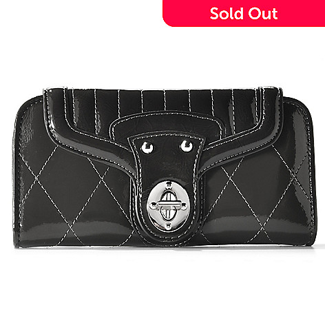 709-704 - Madi Claire ''Jennifer'' Quilt Stitched Patent Leather Wallet