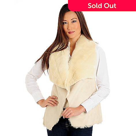 709-708 - WD.NY Drape Front Faux Shearling Vest
