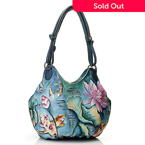 709-740 - Anuschka Hand-Painted Leather Ruched Box Hobo Handbag