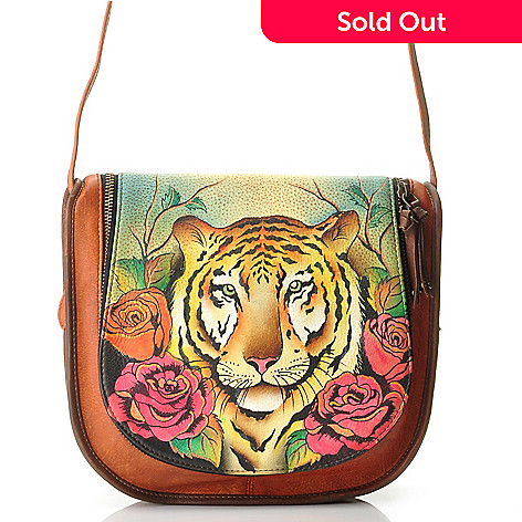 709-742 - Anuschka Hand-Painted Leather Zip Around Flap Saddle Bag