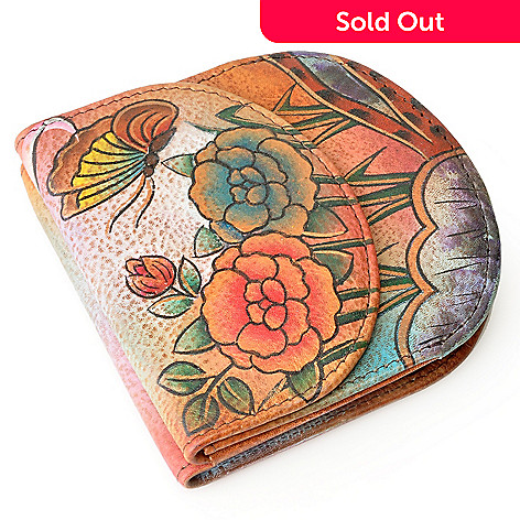 709-743 - Anuschka Hand-Painted Leather Wallet w/ Exterior Pocket