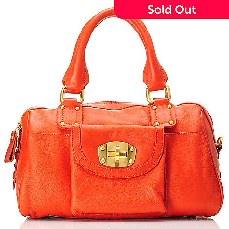 709-787 - Michael Rome Flap Over Turnlock Pocket Zip Top Leather Satchel
