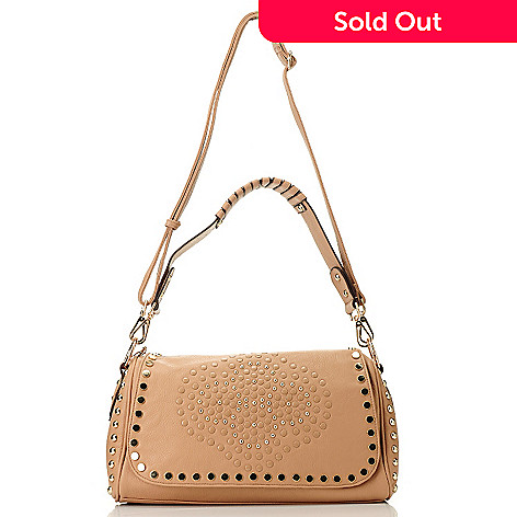 709-790 - Nicole Lee Studded Flap Over Shoulder Bag w/ Adjustable Shoulder Strap