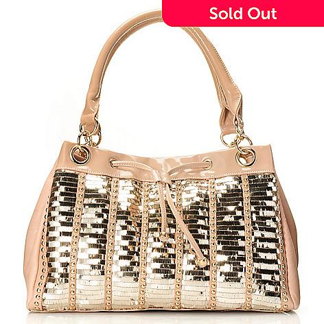 709-794 - Nicole Lee Double Handled Zip Top Sequined Patent Tote Bag