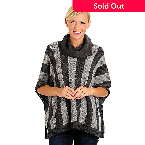 709-805 - Leo & Nicole Stripe Knit Cowl Neck Poncho Sweater
