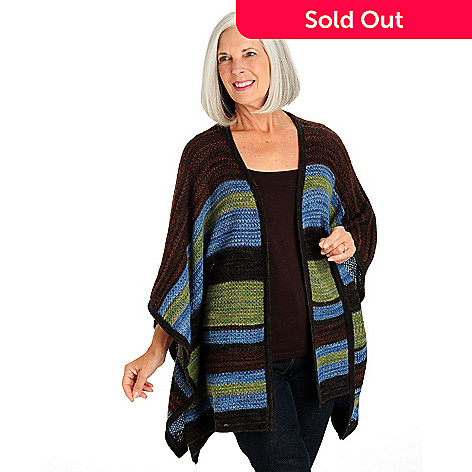 709-807 - Leo & Nicole Striped Blanket Butterfly Sleeved Open Front Cardigan