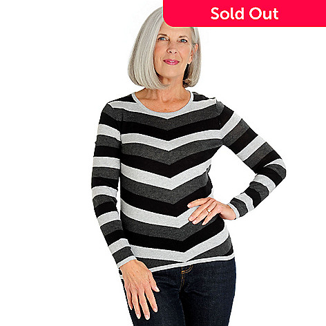 709-813 - Leo & Nicole Fine Gauge Knit Metallic Striped Long Sleeved Sweater