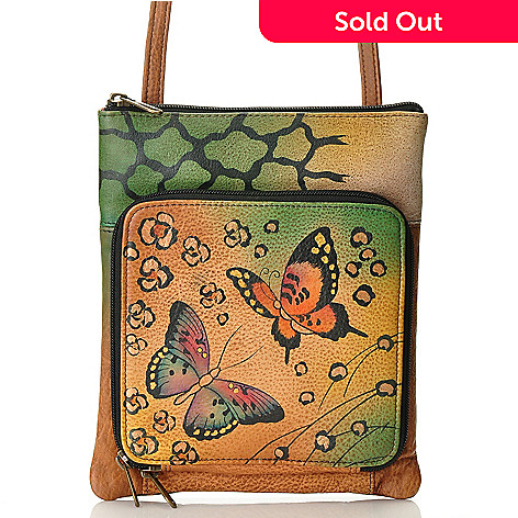 709-816 - Anuschka Hand Painted Leather Cross Body Organizer Bag