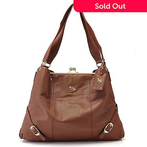 709-930 - Emma Fox Kisslock Framed Leather Shoulder Bag