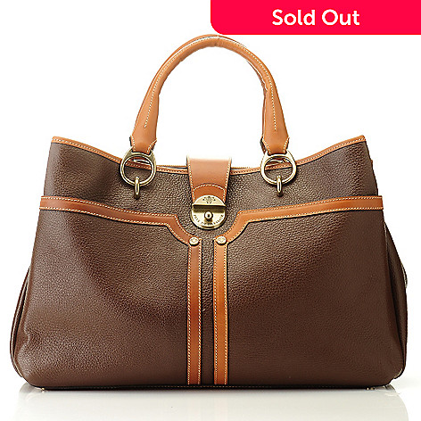 709-932 - PRIX DE DRESSAGE Leather Double Handle Tote Bag w/ Shoulder Strap