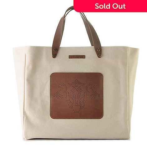 709-942 - PRIX DE DRESSAGE Canvas & Leather Trimmed Front Pocket Tote Bag