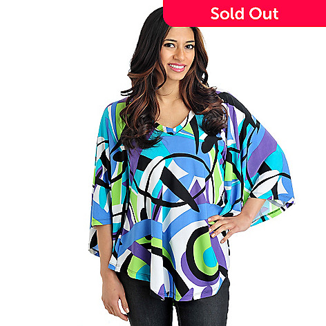 709-944 - Kate & Mallory Jersey Stretch Knit Wide Sleeve V-Neck Printed Tunic