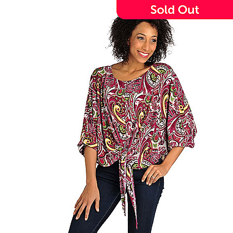 709-945 - Kate & Mallory Stretch Knit Dolman Sleeved Tie-Front Poncho Top