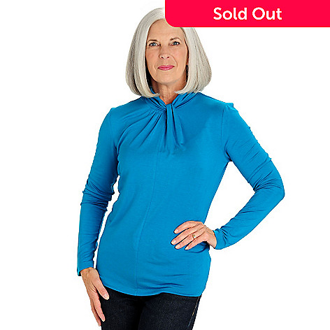 709-974 - Love, Carson by Carson Kressley Stretch Knit Long Sleeved Twist Neck Top