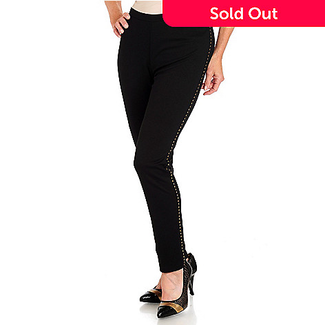 709-979 - Love, Carson by Carson Kressley Flat Front Stud Accented Slim Fit Pants