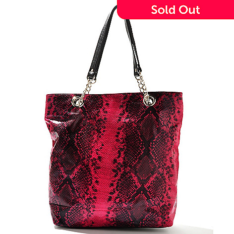 709-987 - Chateau Snake Embossed Chain-Link Double Handle Tote Bag