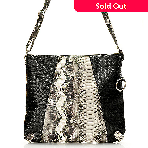 709-990 - Chateau Snake Embossed Woven Cross Body Bag