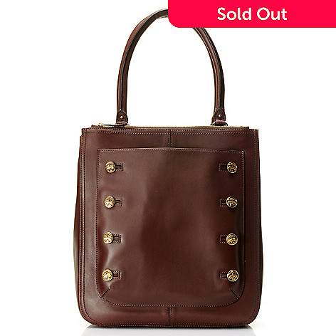 709-991 - Brooks Brothers® Calfskin Leather Double Handle Button Detailed Large Tote Bag