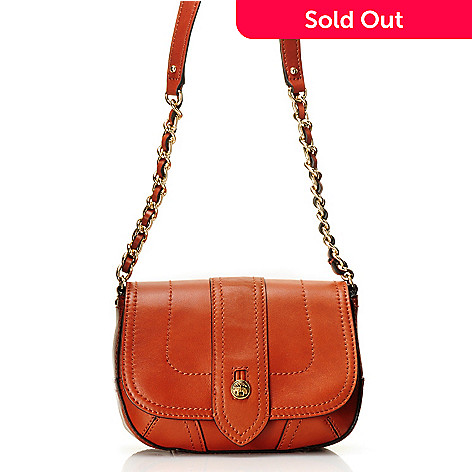 709-992 - Brooks Brothers® Calfskin Leather Button & Chain Detailed Cross Body Bag