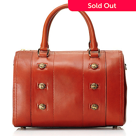 709-993 - Brooks Brothers Calfskin Leather Button Detailed Double Handle Barrel Satchel Bag