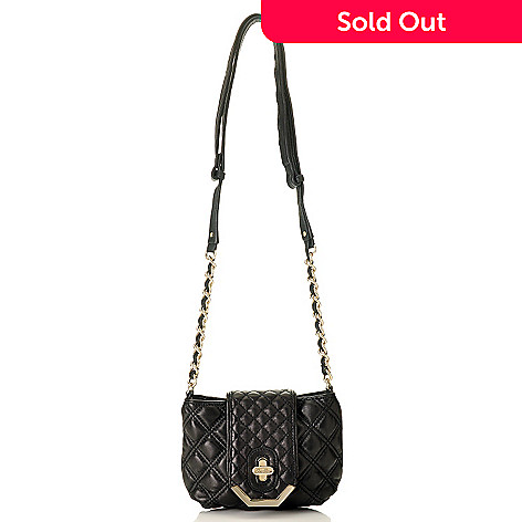 709-994 - Brooks Brothers Quilted Lambskin Cross Body Handbag w/ Turn Lock Closure
