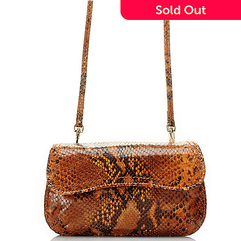 710-001 - Brooks Brothers Leather Reptile Embossed Cross Body Clutch