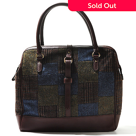 710-005 - Brooks Brothers® Zip Top Double Handle Plaid Wool Bowler Handbag