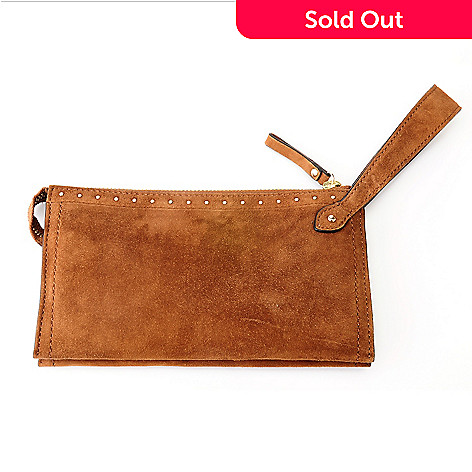 710-006 - Brooks Brothers Suede Leather Zip Top Wristlet