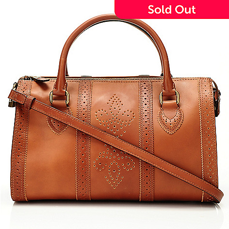 710-007 - Brooks Brothers Perforated Calfskin Medium Barrel Satchel Handbag